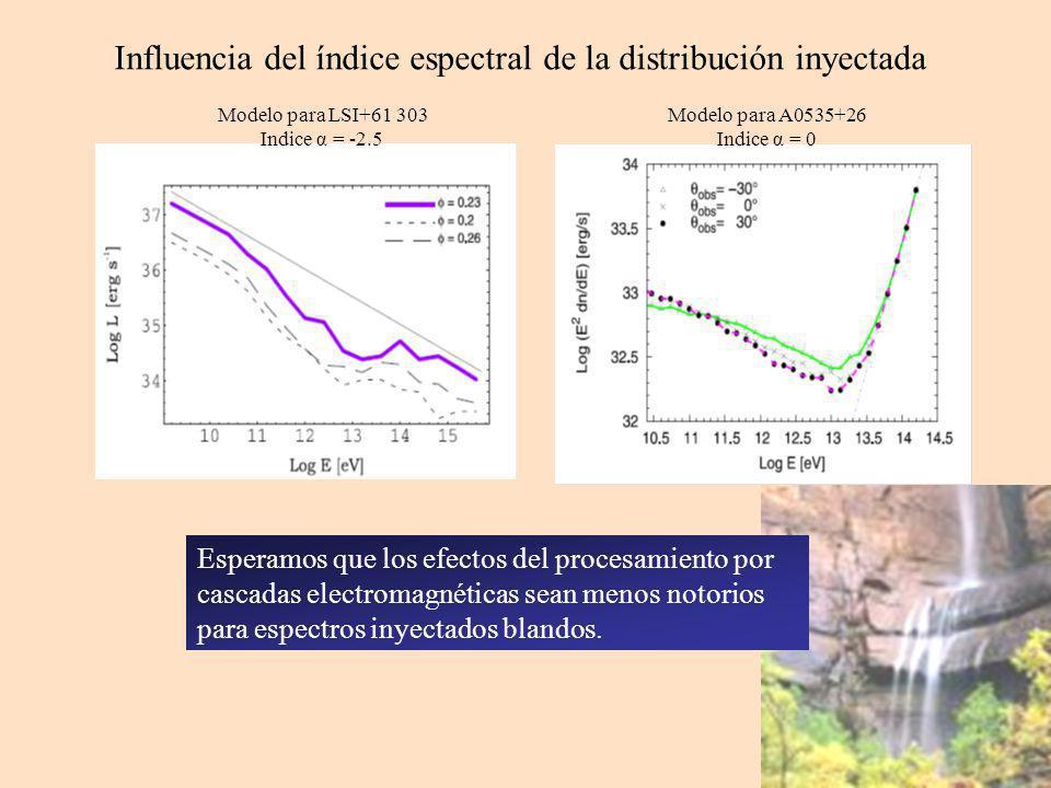 Influencia del índice espectral de la distribución inyectada Modelo para LSI+61 303 Indice α = -2.5 Modelo para A0535+26 Indice α = 0 Esperamos que los efectos del procesamiento por cascadas electromagnéticas sean menos notorios para espectros inyectados blandos.