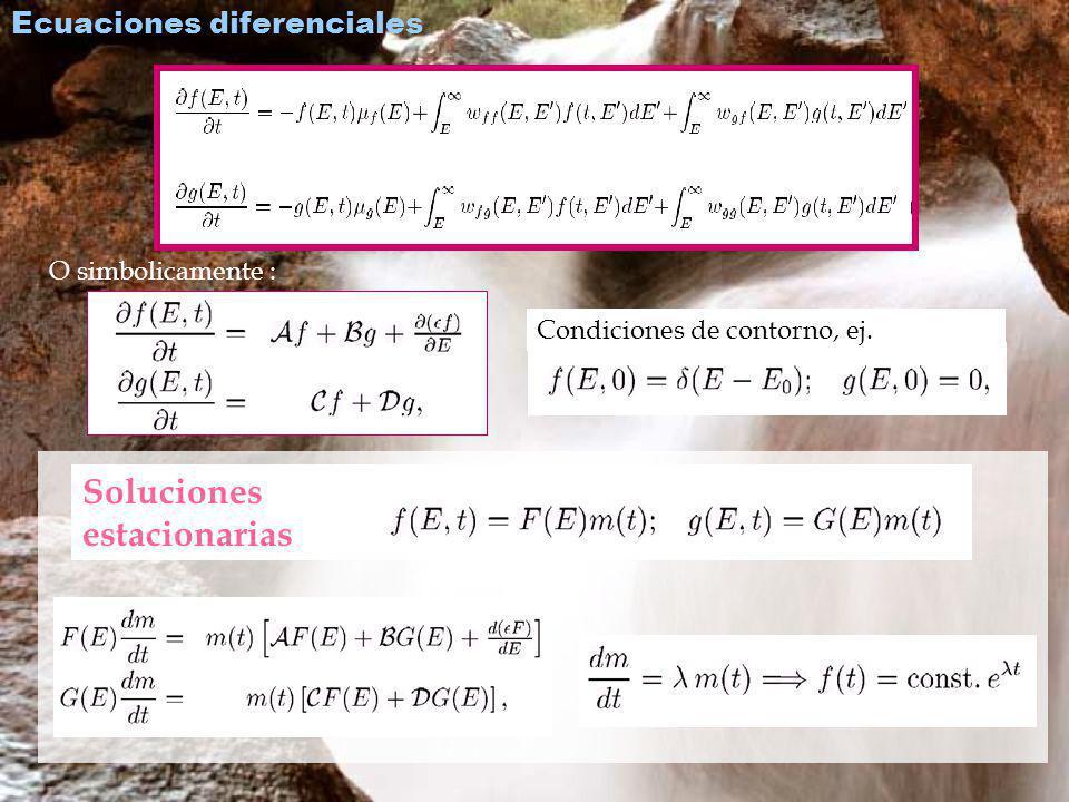 Para la dependencia con la energía de las soluciones estacionarias APROXIMACIÓN A Despreciando colisiones e introduciendo las expresiones asintóticas de las proba- bilidades de interacción, que dependen de E /E: El sistema tiene solución analítica.