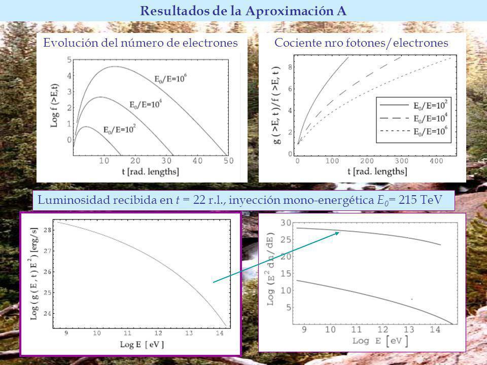Evolución del número de electrones Resultados de la Aproximación A Cociente nro fotones/electrones Luminosidad recibida en t = 22 r.l., inyección mono-energética E 0 = 215 TeV