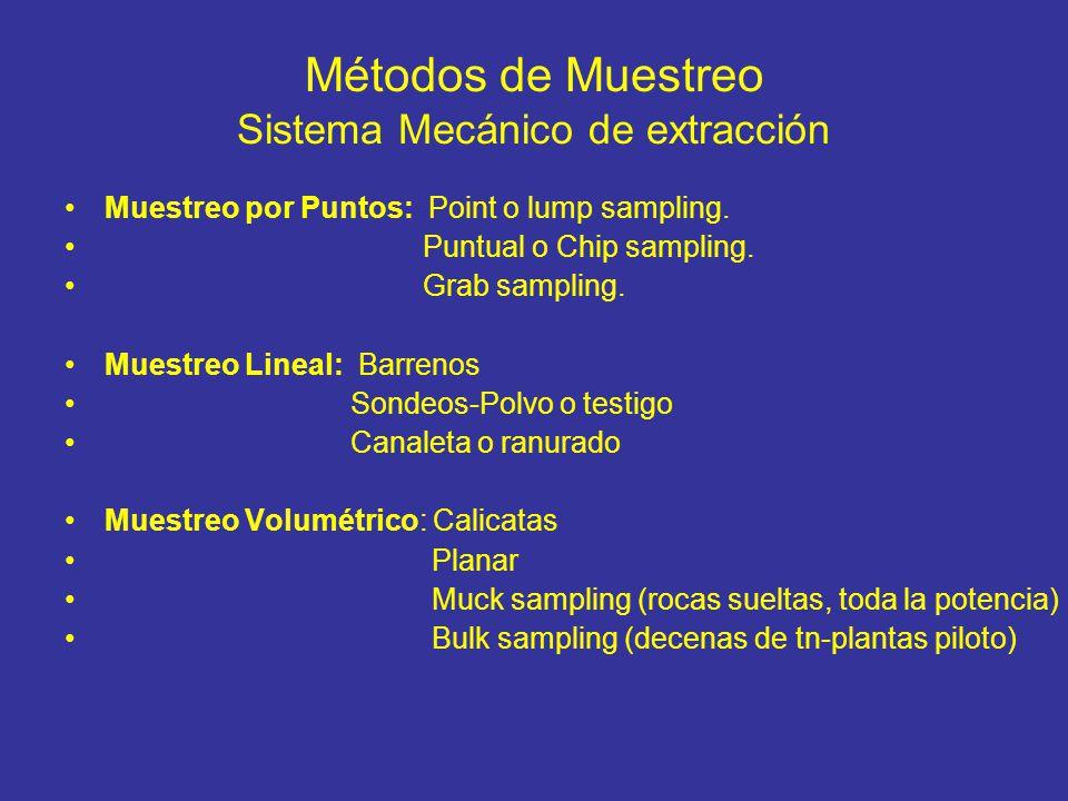 Métodos de Muestreo Sistema Mecánico de extracción Muestreo por Puntos: Point o lump sampling. Puntual o Chip sampling. Grab sampling. Muestreo Lineal