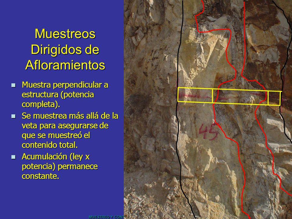 MUESTREO Y CONTROL DE CALIDAD – UNIVERSIDAD DE CHILE Muestreos Dirigidos de Afloramientos Muestra perpendicular a estructura (potencia completa). Mues
