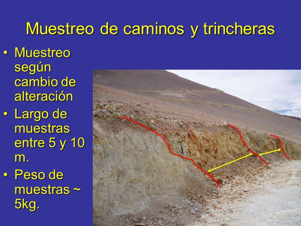 Muestreo de caminos y trincheras Muestreo según cambio de alteraciónMuestreo según cambio de alteración Largo de muestras entre 5 y 10 m.Largo de mues