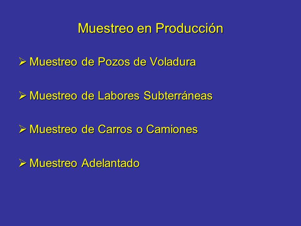 Muestreo en Producción Muestreo de Pozos de Voladura Muestreo de Pozos de Voladura Muestreo de Labores Subterráneas Muestreo de Labores Subterráneas M