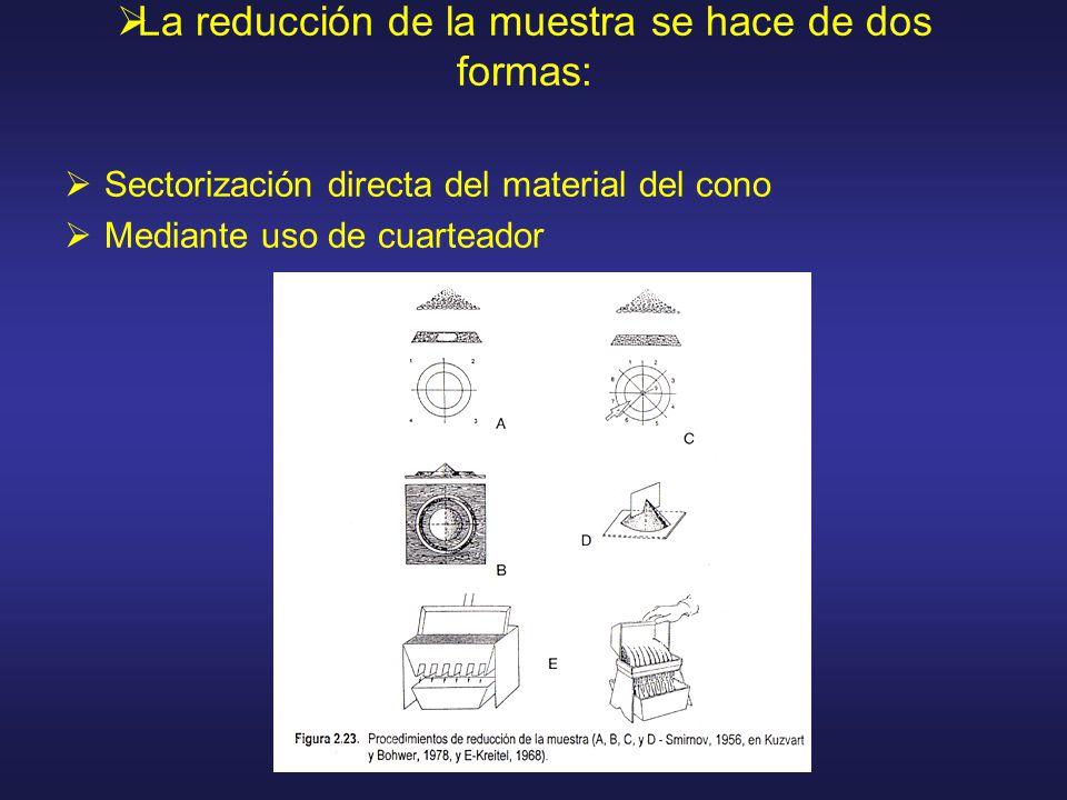 La reducción de la muestra se hace de dos formas: Sectorización directa del material del cono Mediante uso de cuarteador