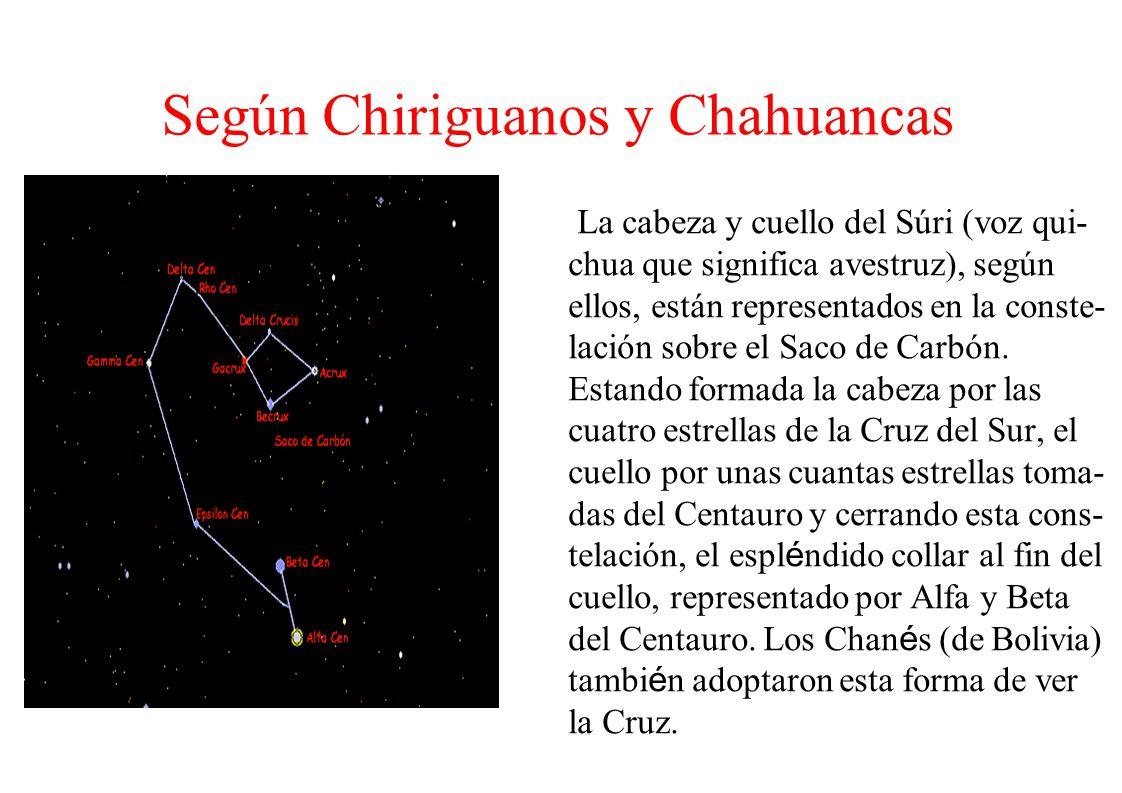 Según Chiriguanos y Chahuancas La cabeza y cuello del Súri (voz qui- chua que significa avestruz), según ellos, están representados en la conste- laci