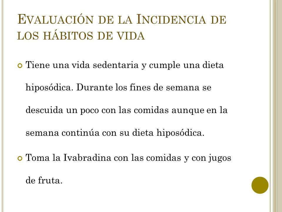 E VALUACIÓN DE LA I NCIDENCIA DE LOS HÁBITOS DE VIDA Tiene una vida sedentaria y cumple una dieta hiposódica.