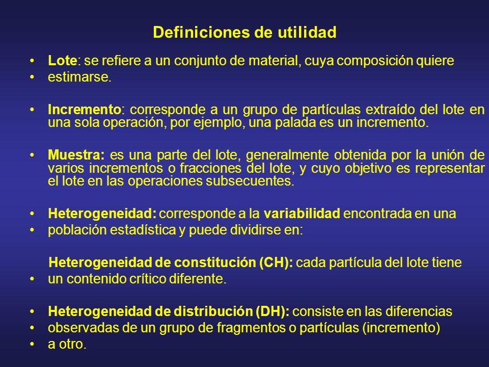 Definiciones de utilidad Lote: se refiere a un conjunto de material, cuya composición quiere estimarse. Incremento: corresponde a un grupo de partícul