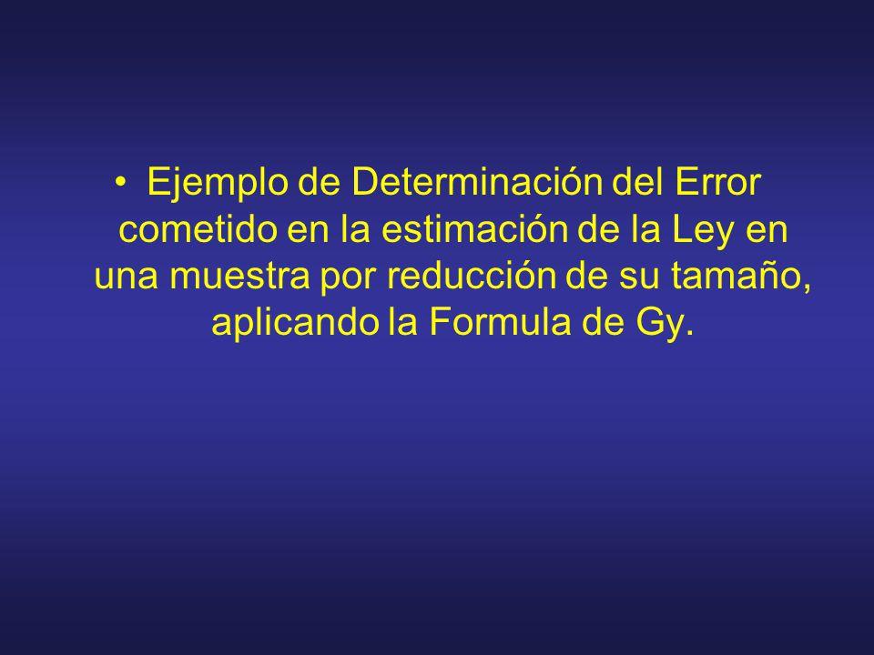 Ejemplo de Determinación del Error cometido en la estimación de la Ley en una muestra por reducción de su tamaño, aplicando la Formula de Gy.