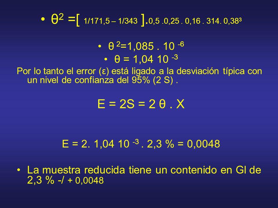 θ 2 =[ 1/171,5 – 1/343 ]. 0,5.0,25. 0,16. 314. 0,38 3 θ 2 =1,085. 10 -6 θ = 1,04 10 -3 Por lo tanto el error (ε) está ligado a la desviación típica co