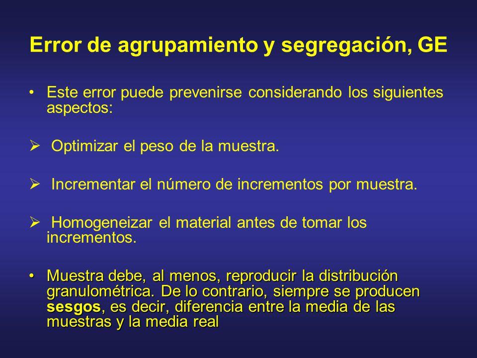 Error de agrupamiento y segregación, GE Este error puede prevenirse considerando los siguientes aspectos: Optimizar el peso de la muestra. Incrementar