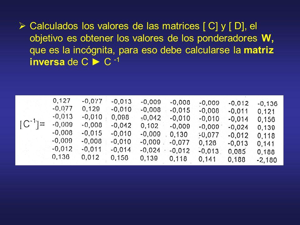 Calculados los valores de las matrices [ C] y [ D], el objetivo es obtener los valores de los ponderadores W, que es la incógnita, para eso debe calcularse la matriz inversa de C C -1