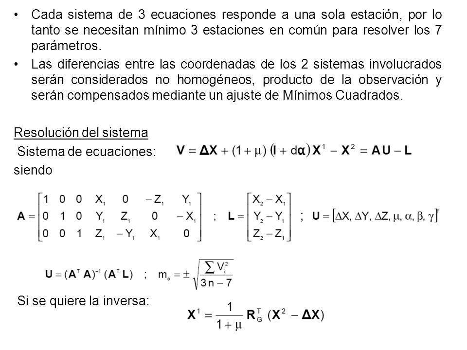 Cada sistema de 3 ecuaciones responde a una sola estación, por lo tanto se necesitan mínimo 3 estaciones en común para resolver los 7 parámetros. Las