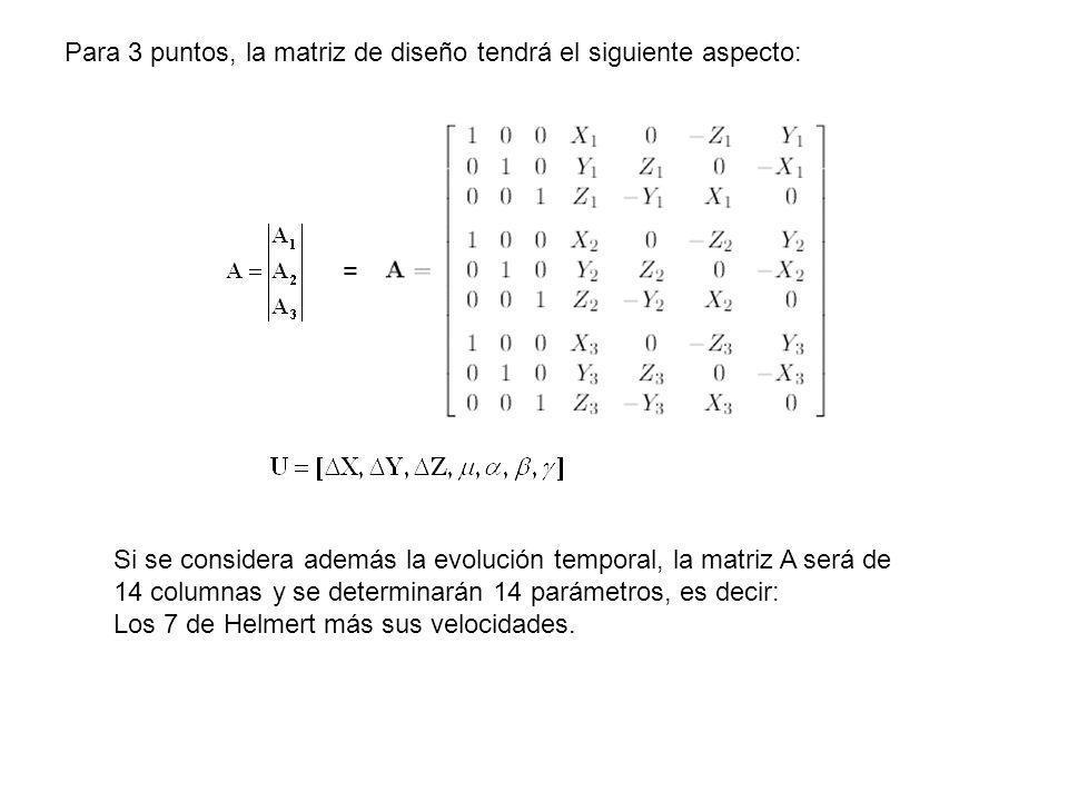 Para 3 puntos, la matriz de diseño tendrá el siguiente aspecto: = Si se considera además la evolución temporal, la matriz A será de 14 columnas y se d