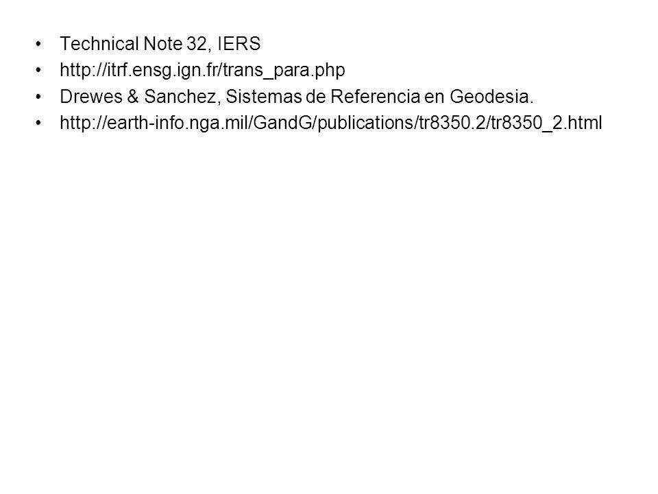 Technical Note 32, IERS http://itrf.ensg.ign.fr/trans_para.php Drewes & Sanchez, Sistemas de Referencia en Geodesia. http://earth-info.nga.mil/GandG/p