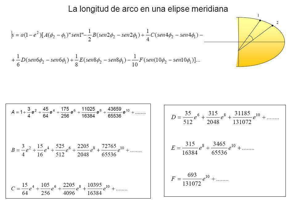 La longitud de arco en una elipse meridiana