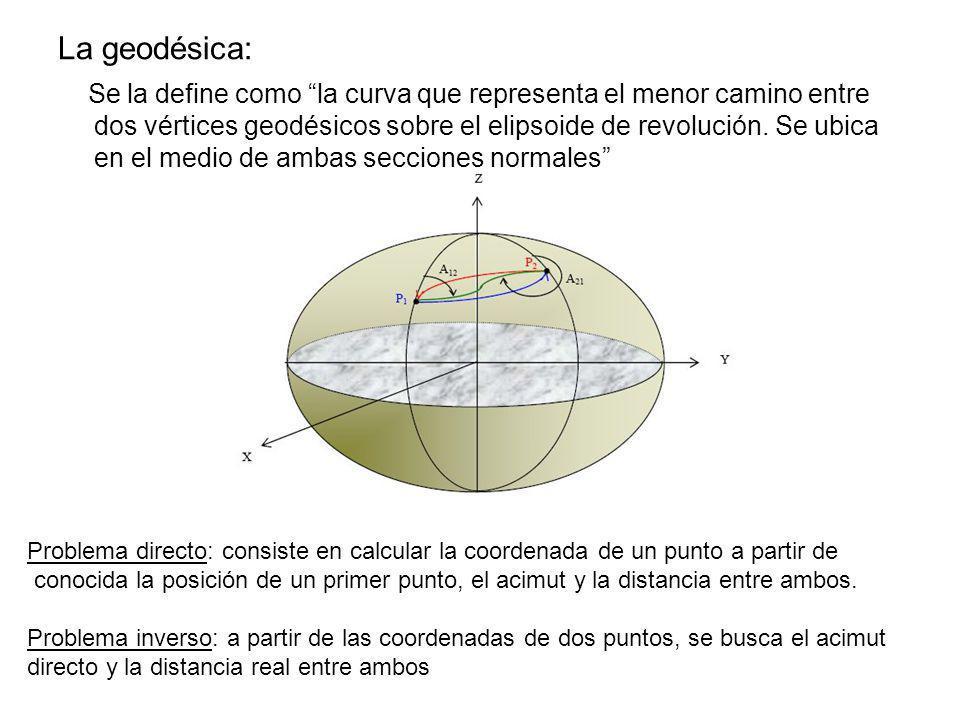 La geodésica: Se la define como la curva que representa el menor camino entre dos vértices geodésicos sobre el elipsoide de revolución. Se ubica en el