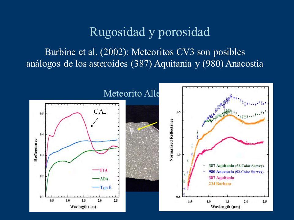 Burbine et al. (2002): Meteoritos CV3 son posibles análogos de los asteroides (387) Aquitania y (980) Anacostia Meteorito Allende Rugosidad y porosida