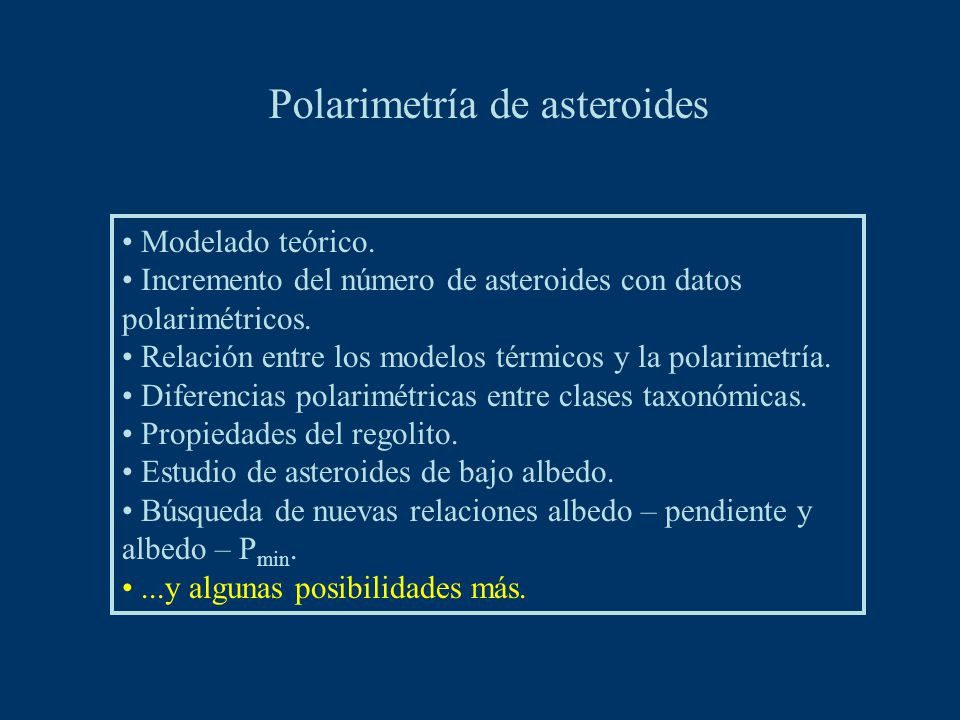Modelado teórico. Incremento del número de asteroides con datos polarimétricos.