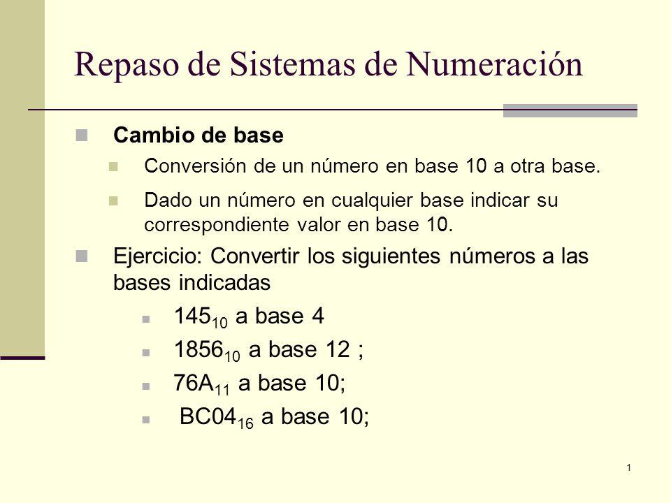 1 Repaso de Sistemas de Numeración Cambio de base Conversión de un número en base 10 a otra base. Dado un número en cualquier base indicar su correspo