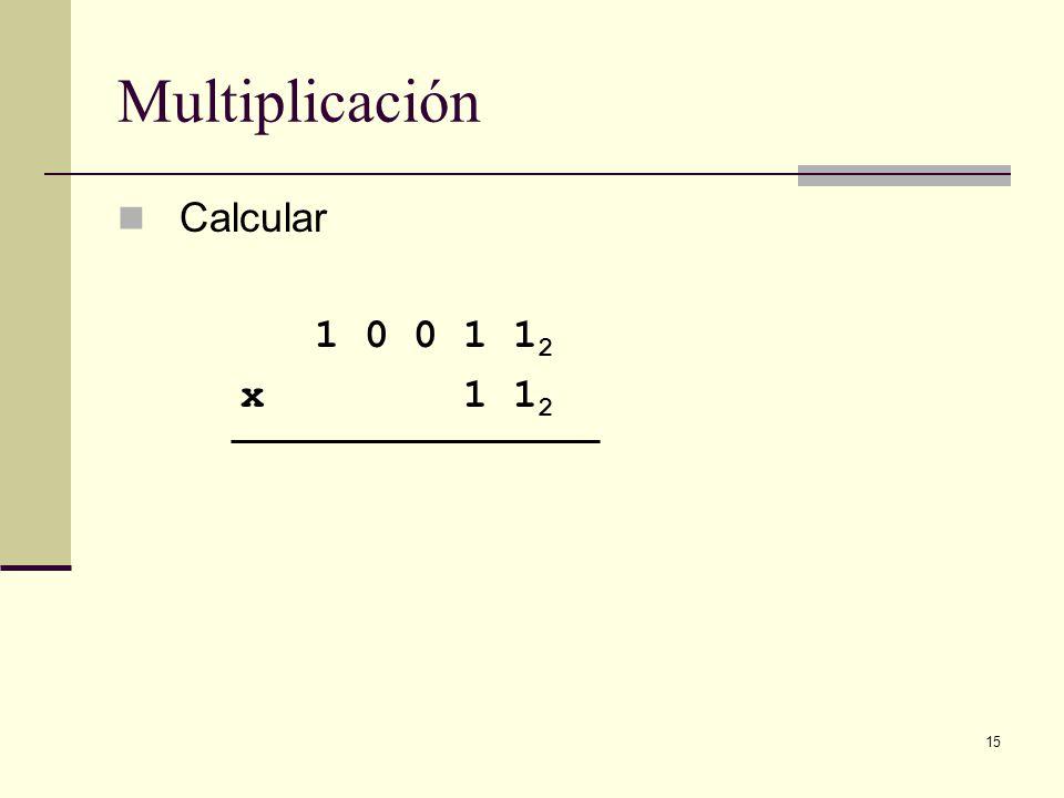 15 Multiplicación Calcular 1 0 0 1 1 2 x 1 1 2