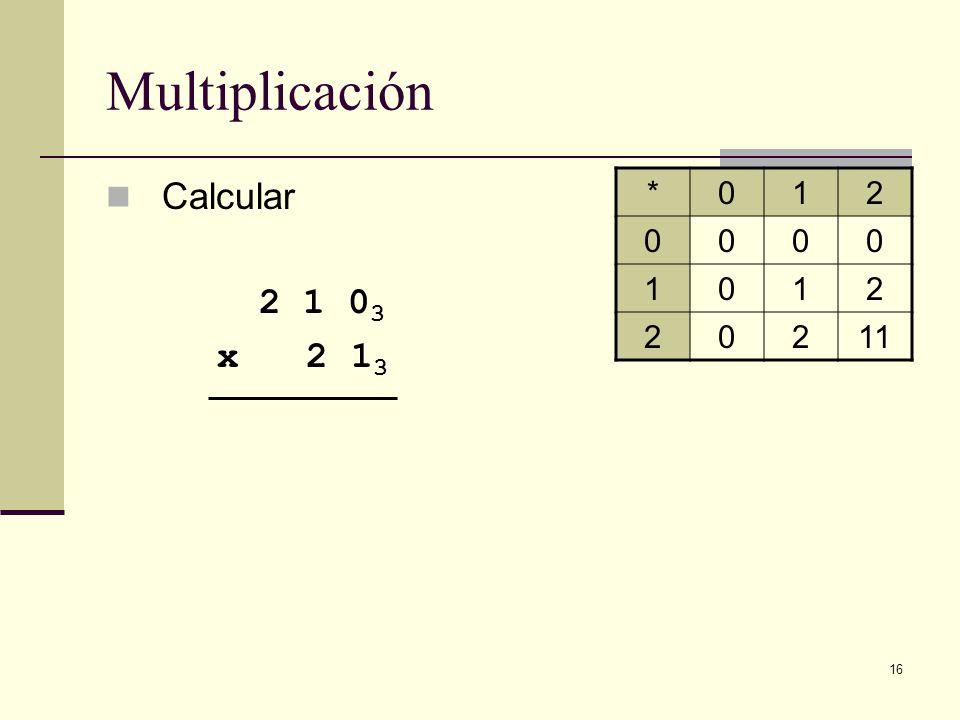 16 Multiplicación Calcular 2 1 0 3 x 2 1 3 *012 0000 1012 20211