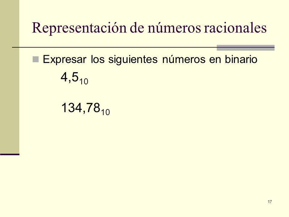 17 Representación de números racionales Expresar los siguientes números en binario 4,5 10 134,78 10