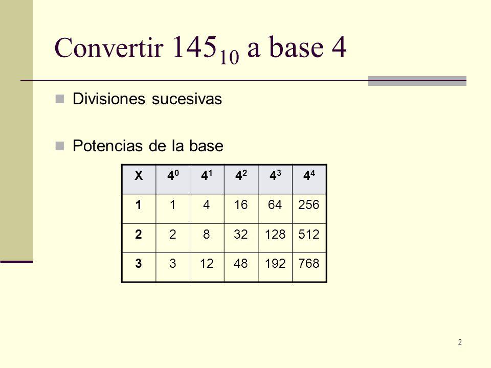 2 Convertir 145 10 a base 4 Divisiones sucesivas Potencias de la base X4040 4141 4242 43434 1141664256 22832128512 331248192768