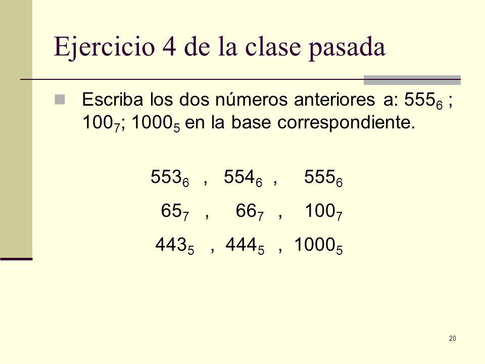 20 Ejercicio 4 de la clase pasada Escriba los dos números anteriores a: 555 6 ; 100 7 ; 1000 5 en la base correspondiente. 553 6, 554 6, 555 6 65 7, 6