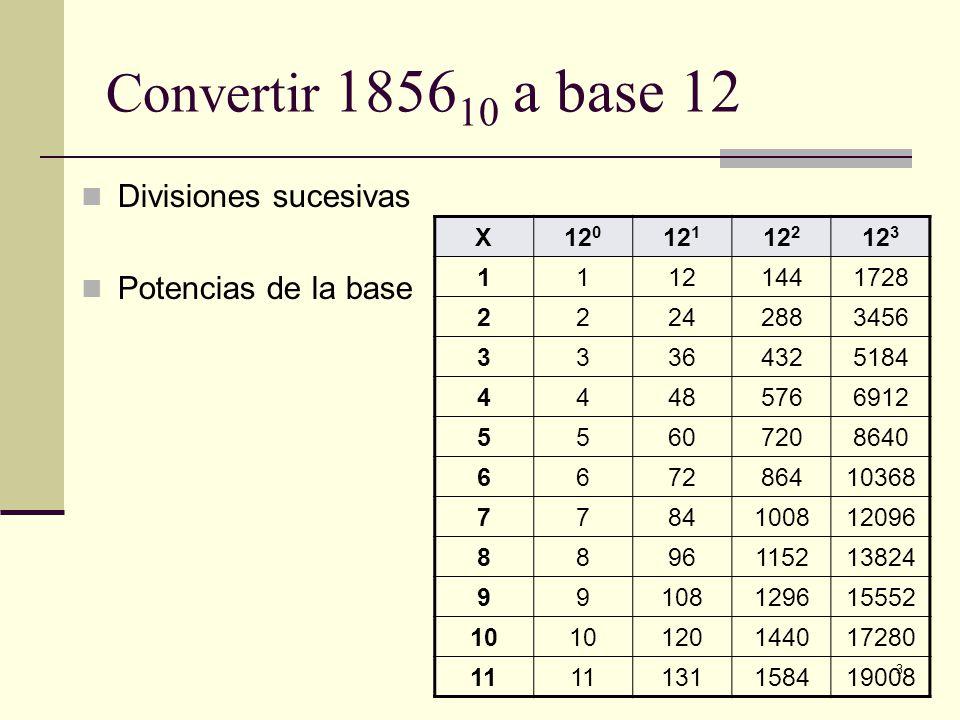 3 Convertir 1856 10 a base 12 Divisiones sucesivas Potencias de la base X12 0 12 1 12 2 12 3 11121441728 22242883456 33364325184 44485766912 556072086