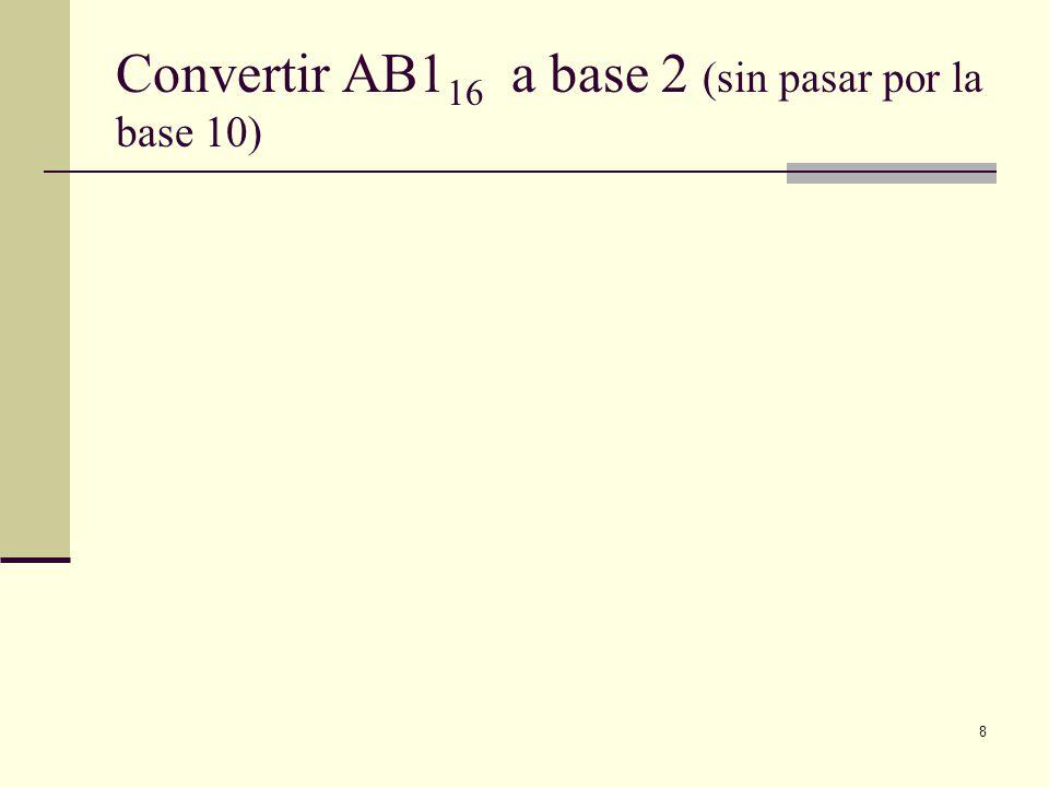 8 Convertir AB1 16 a base 2 (sin pasar por la base 10)