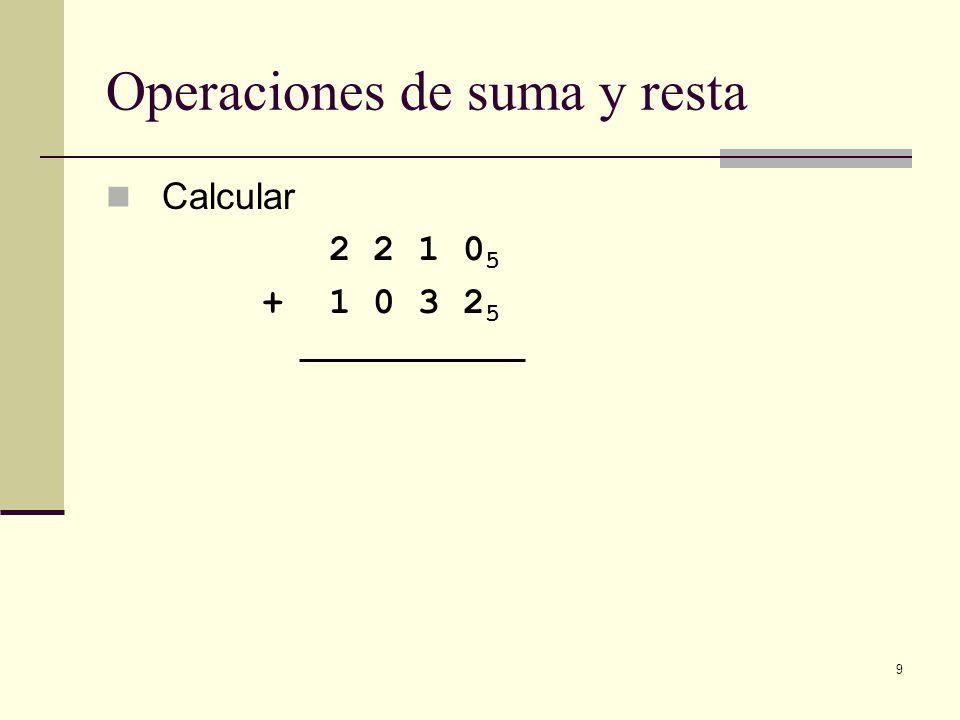 9 Operaciones de suma y resta Calcular 2 2 1 0 5 + 1 0 3 2 5