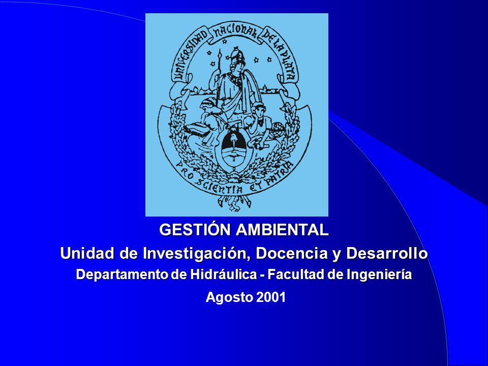 GESTIÓN AMBIENTAL Unidad de Investigación, Docencia y Desarrollo Departamento de Hidráulica - Facultad de Ingeniería Agosto 2001