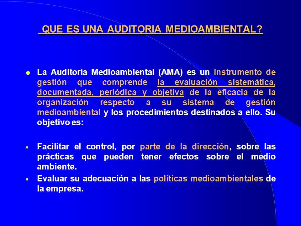 QUE ES UNA AUDITORIA MEDIOAMBIENTAL? QUE ES UNA AUDITORIA MEDIOAMBIENTAL? l La Auditoría Medioambiental (AMA) es un instrumento de gestión que compren