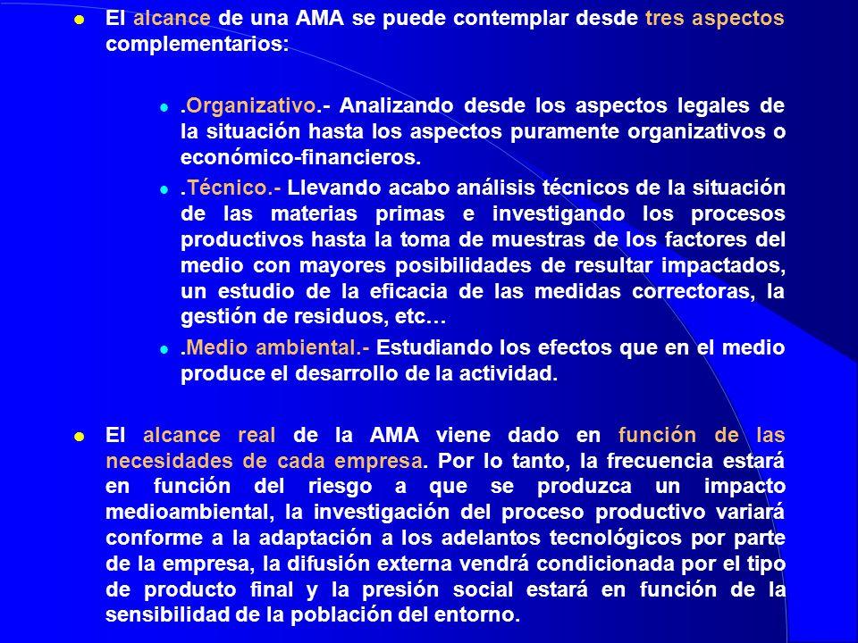 l El alcance de una AMA se puede contemplar desde tres aspectos complementarios:. Organizativo.- Analizando desde los aspectos legales de la situación