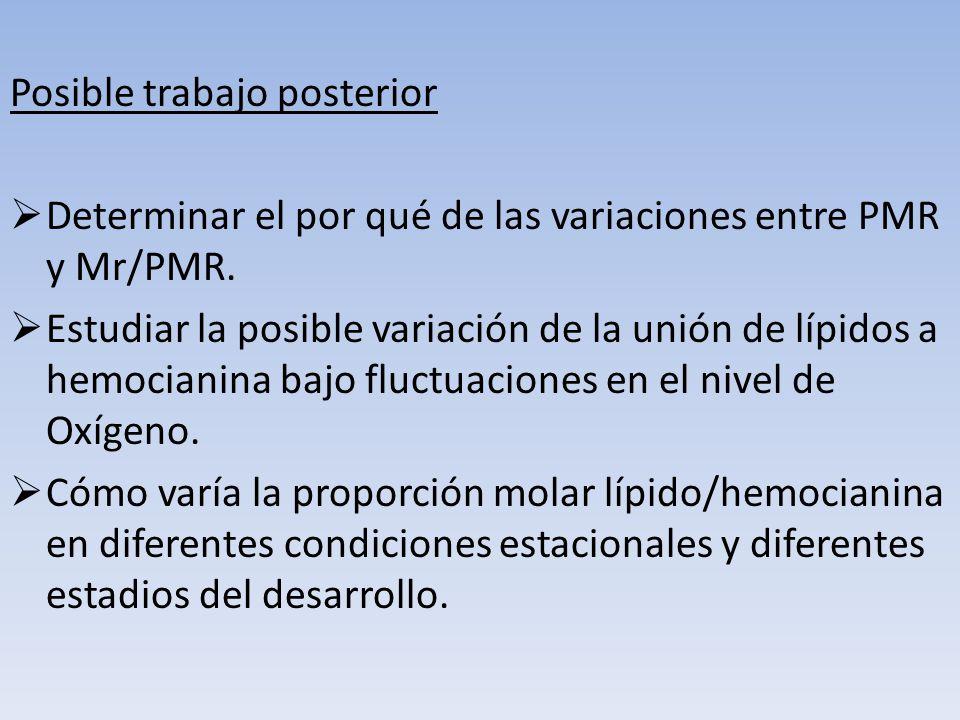 Posible trabajo posterior Determinar el por qué de las variaciones entre PMR y Mr/PMR. Estudiar la posible variación de la unión de lípidos a hemocian