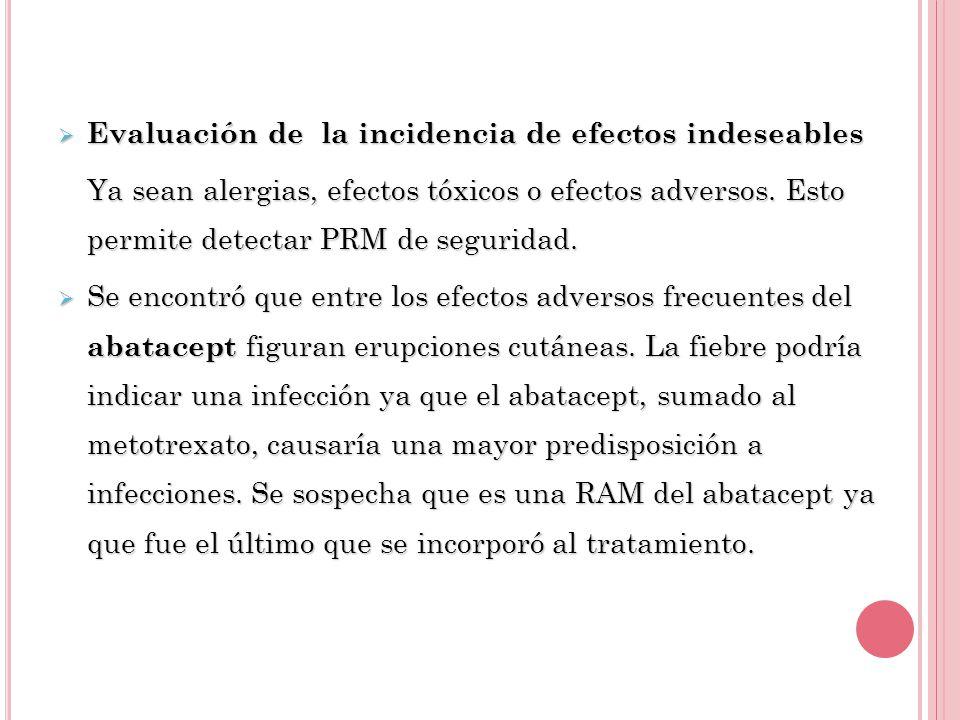 Evaluación de la incidencia de efectos indeseables Evaluación de la incidencia de efectos indeseables Ya sean alergias, efectos tóxicos o efectos adversos.