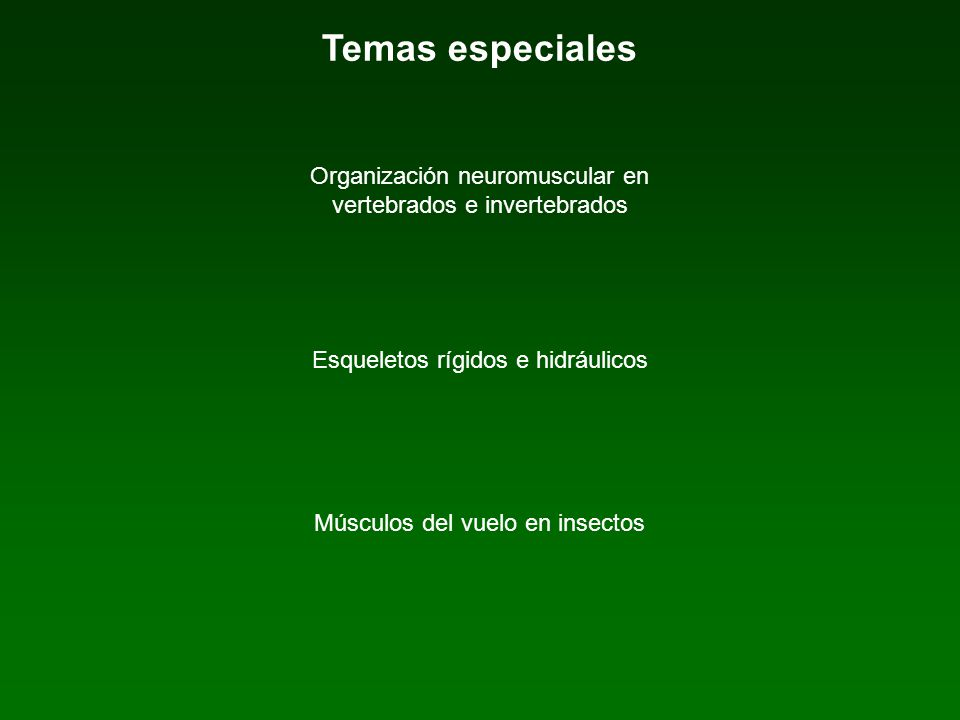 Temas especiales Organización neuromuscular en vertebrados e invertebrados Esqueletos rígidos e hidráulicos Músculos del vuelo en insectos