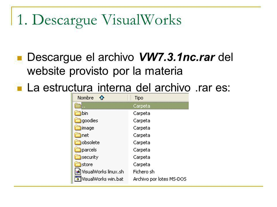 1. Descargue VisualWorks Descargue el archivo VW7.3.1nc.rar del website provisto por la materia La estructura interna del archivo.rar es: