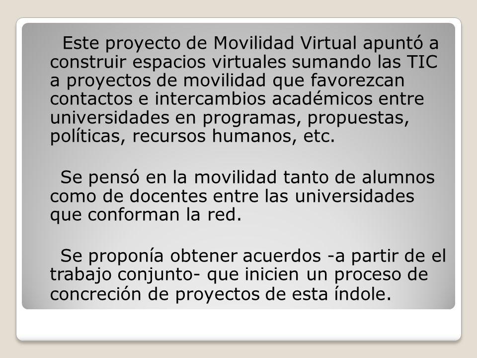 Este proyecto de Movilidad Virtual apuntó a construir espacios virtuales sumando las TIC a proyectos de movilidad que favorezcan contactos e intercambios académicos entre universidades en programas, propuestas, políticas, recursos humanos, etc.
