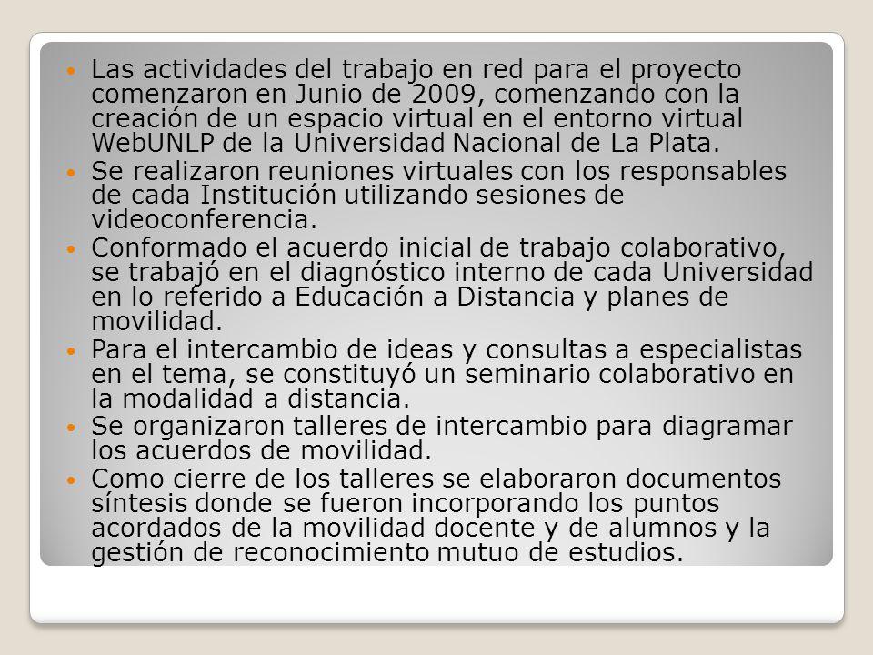 Las actividades del trabajo en red para el proyecto comenzaron en Junio de 2009, comenzando con la creación de un espacio virtual en el entorno virtual WebUNLP de la Universidad Nacional de La Plata.