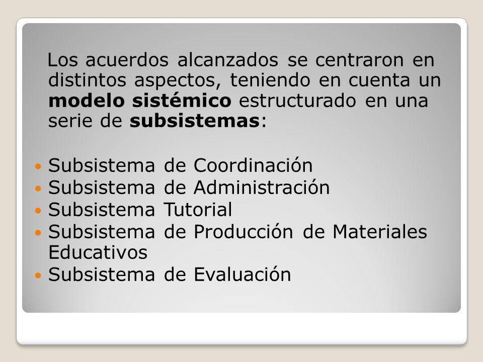 Los acuerdos alcanzados se centraron en distintos aspectos, teniendo en cuenta un modelo sistémico estructurado en una serie de subsistemas: Subsistema de Coordinación Subsistema de Administración Subsistema Tutorial Subsistema de Producción de Materiales Educativos Subsistema de Evaluación