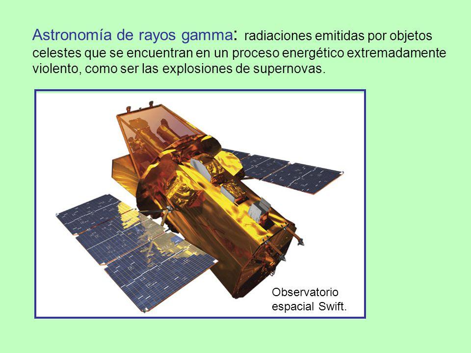 Astronomía de rayos gamma : radiaciones emitidas por objetos celestes que se encuentran en un proceso energético extremadamente violento, como ser las explosiones de supernovas.