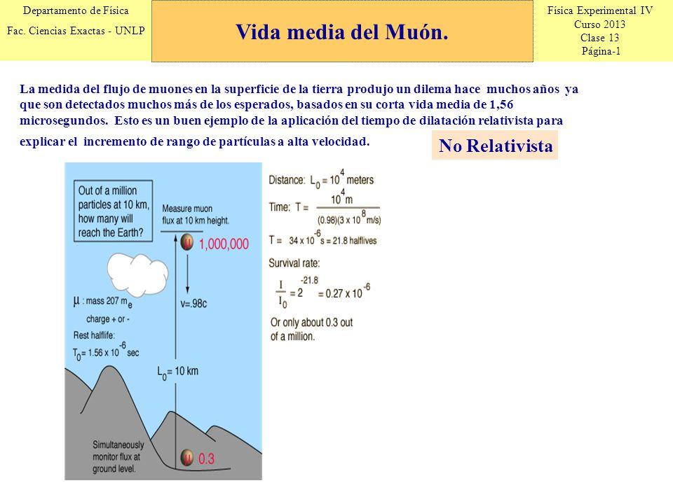 Física Experimental IV Curso 2013 Clase 13 Página-1 Departamento de Física Fac. Ciencias Exactas - UNLP Vida media del Muón. La medida del flujo de mu