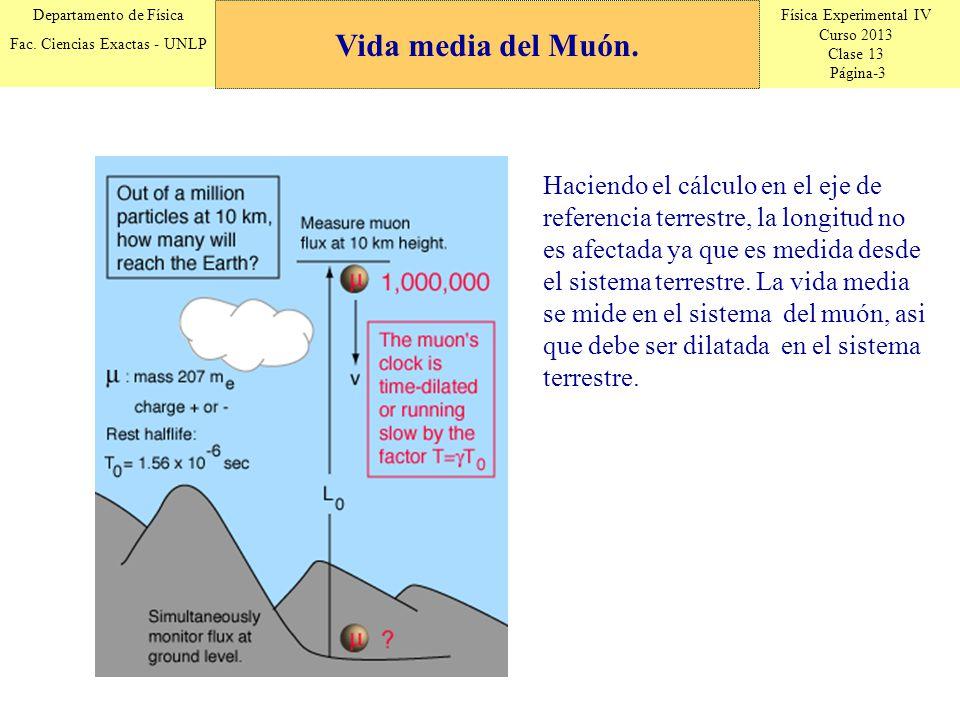 Física Experimental IV Curso 2013 Clase 13 Página-3 Departamento de Física Fac. Ciencias Exactas - UNLP Vida media del Muón. Haciendo el cálculo en el