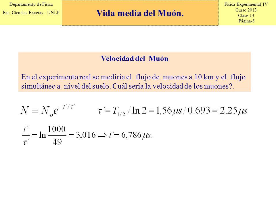 Física Experimental IV Curso 2013 Clase 13 Página-5 Departamento de Física Fac. Ciencias Exactas - UNLP Velocidad del Muón En el experimento real se m