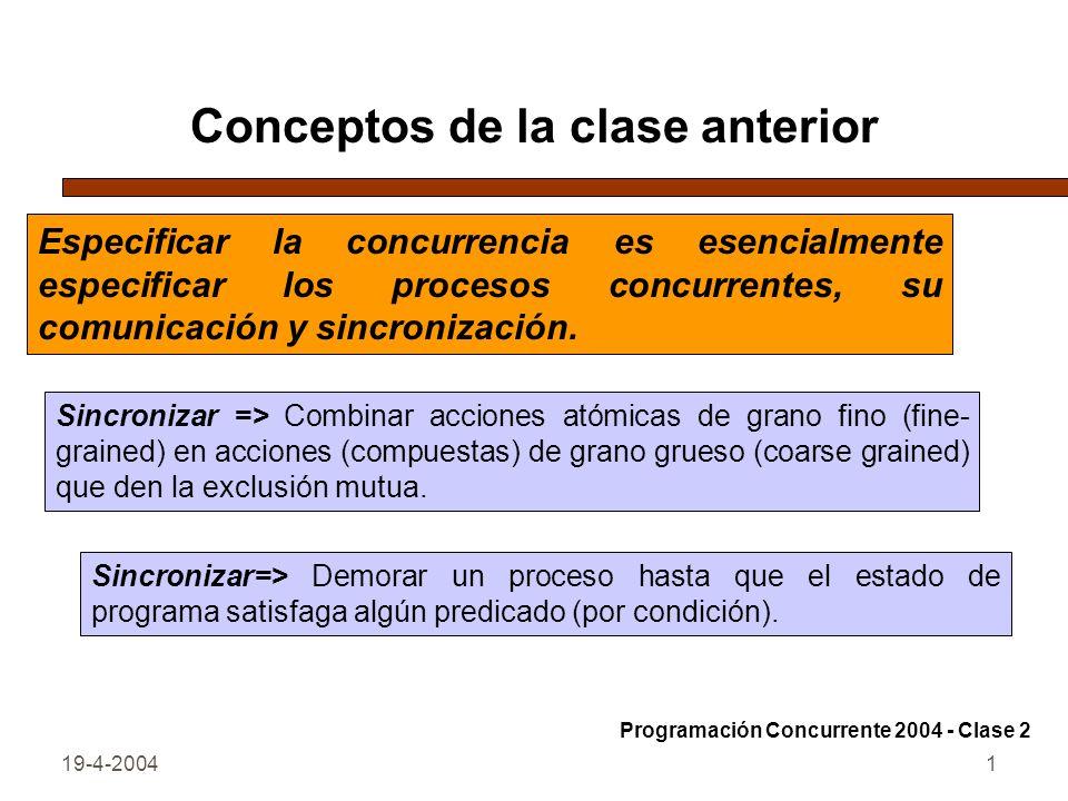 19-4-20041 Conceptos de la clase anterior Sincronizar => Combinar acciones atómicas de grano fino (fine- grained) en acciones (compuestas) de grano grueso (coarse grained) que den la exclusión mutua.
