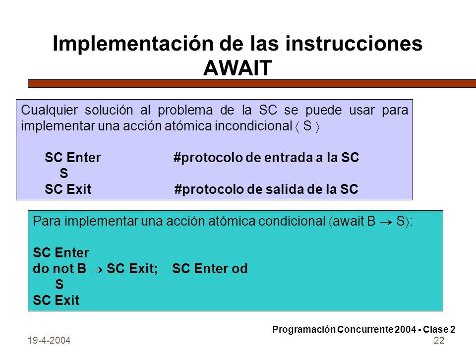 19-4-200422 Implementación de las instrucciones AWAIT Cualquier solución al problema de la SC se puede usar para implementar una acción atómica incondicional S SC Enter #protocolo de entrada a la SC S SC Exit #protocolo de salida de la SC Para implementar una acción atómica condicional await B S : SC Enter do not B SC Exit; SC Enter od S SC Exit Programación Concurrente 2004 - Clase 2