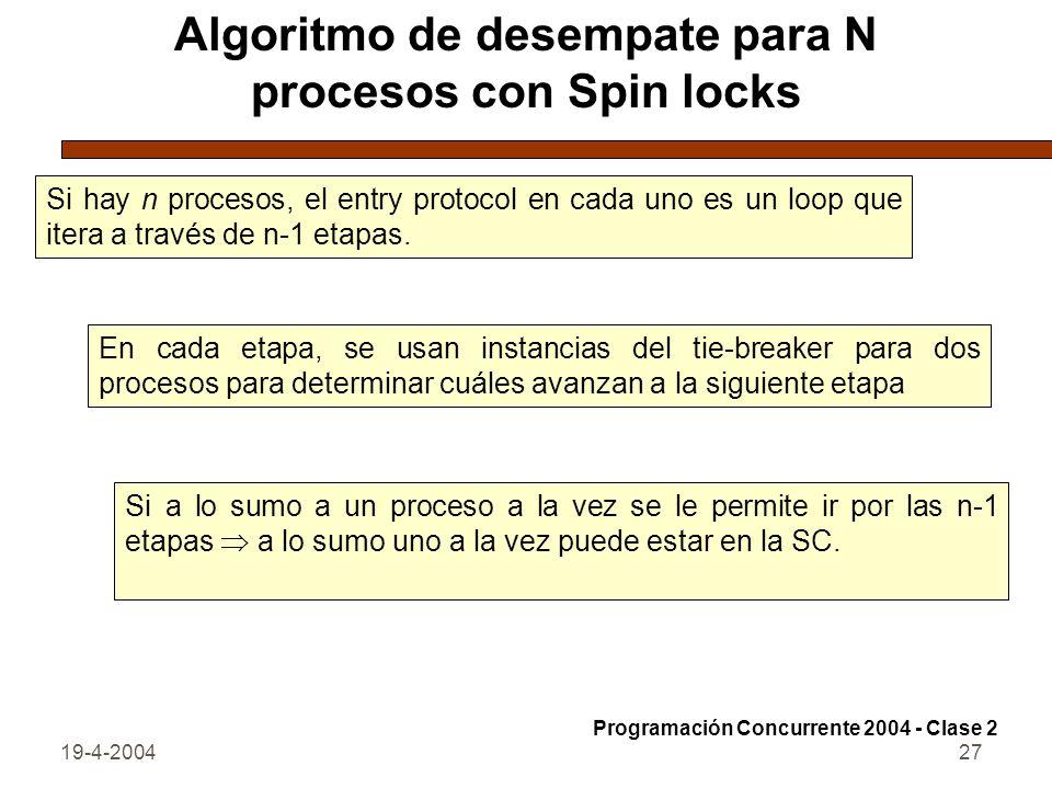 19-4-200427 Algoritmo de desempate para N procesos con Spin locks Si hay n procesos, el entry protocol en cada uno es un loop que itera a través de n-1 etapas.