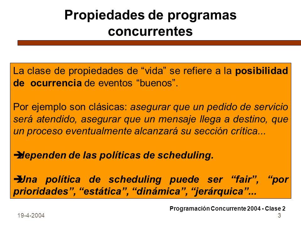 19-4-20043 Propiedades de programas concurrentes La clase de propiedades de vida se refiere a la posibilidad de ocurrencia de eventos buenos.