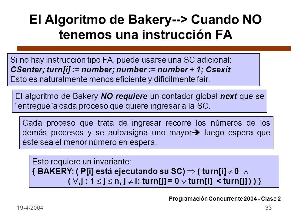 19-4-200433 El Algoritmo de Bakery--> Cuando NO tenemos una instrucción FA El algoritmo de Bakery NO requiere un contador global next que se entreguea cada proceso que quiere ingresar a la SC.